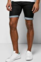 Boohoo Skinny Fit Denim Shorts With Turn Up Black