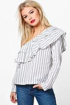 Boohoo Violet Striped Ruffle Long Sleeve Top