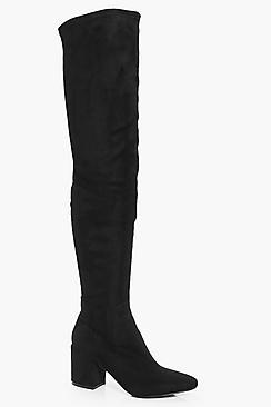 Boohoo Libby Block Heel Thigh High Boot