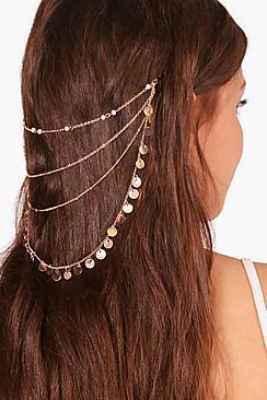 Boohoo Hayleigh Coin Layered Hair Chain