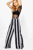 Boohoo Abigail Stripe Wide Leg Trouser Black