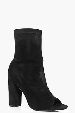 Boohoo Faye Peeptoe Block Heel Shoe Boot