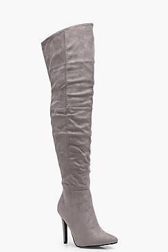 Boohoo Keira Pointed Toe Heeled Thigh High Boot