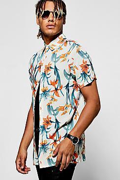 Boohoo Short Sleeve Floral Shirt