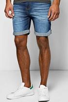 Boohoo Skinny Fit Indigo Wash Denim Shorts In Mid Length