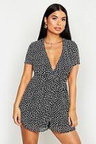 Boohoo Petite Dalmatian Spot Woven Wrap Dress