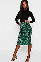 Boohoo Emerald Tiger Midi Skirt