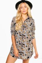 Boohoo Montesina Paisley Print Shirt Dress Black