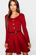 Boohoo Long Sleeve Button Front Belted Skater Dress