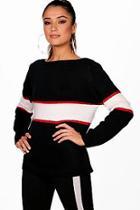 Boohoo Jessica Stripe Colour Block Knitted Jumper