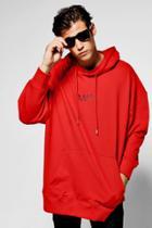 Boohoo Oversized Man Hoodie Red