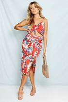 Boohoo Woven Floral Print Wrap Midi Skirt