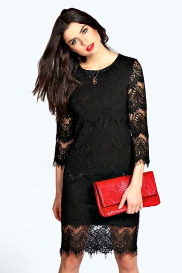 Boohoo Zena Lace Midi Shift Dress - Black