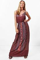 Boohoo Katerina Keyhole Detail Printed Maxi Dress