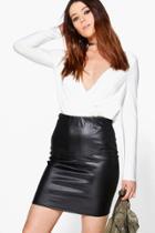 Boohoo Tall Aurelie Pu Mini Skirt Black