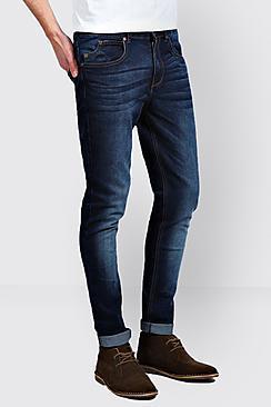 Boohoo Dark Washed Indigo Stretch Skinny Fit Jeans
