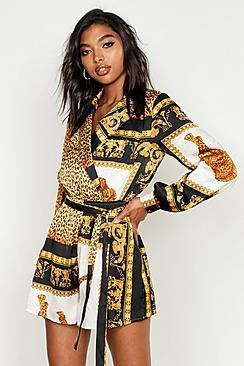 Boohoo Tall Scarf Print Wrap Playsuit