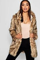 Boohoo Boutique Hooded Faux Fur Coat