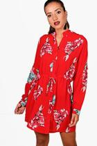 Boohoo Large Floral Tie Waist Shirt Dress