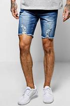 Boohoo Skinny Fit Distressed Hem Denim Shorts