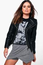 Boohoo Maya Faux Leather Biker Jacket Black