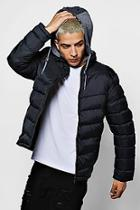 Boohoo Jersey Hooded Quilted Jacket