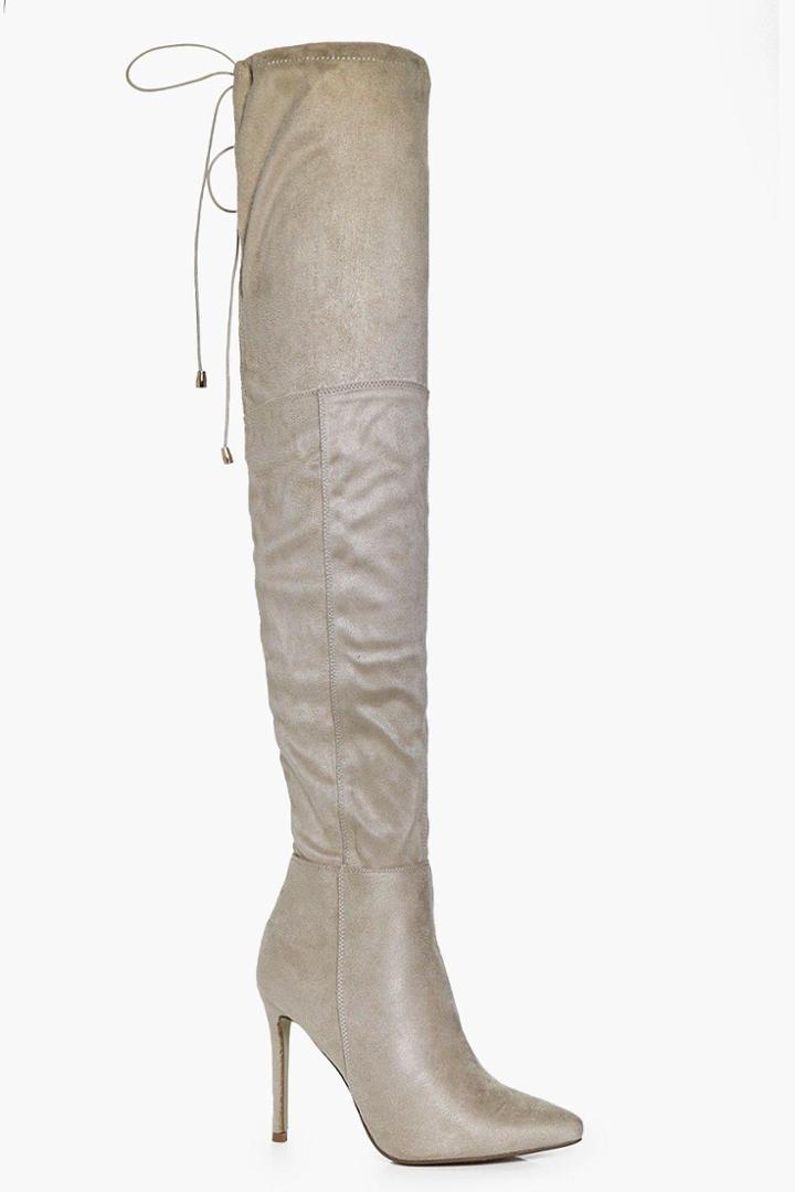 Boohoo Edie Pointed Tie Thigh High Boot Beige