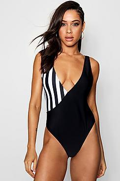 Boohoo Paris Colour Block Stripe Crossover Swimsuit