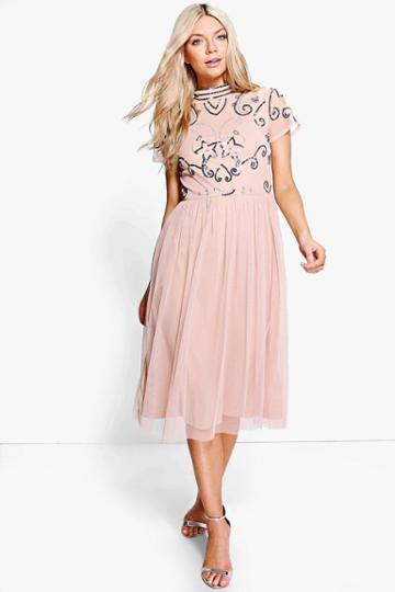 Boohoo Boutique Rita Embellished Midi Dress Blush