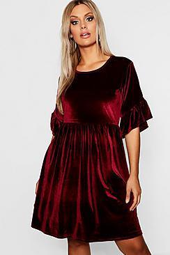 Boohoo Plus Velvet Ruffle Sleeve Smock Dress