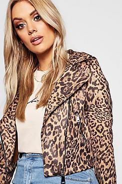 Boohoo Plus Leopard Print Suedette Biker Jacket
