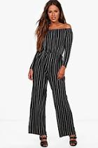Boohoo Petite Connie Stripe Wide Leg Jumpsuit