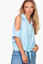 Boohoo Esme Cold Shoulder Knot Blouse Blue