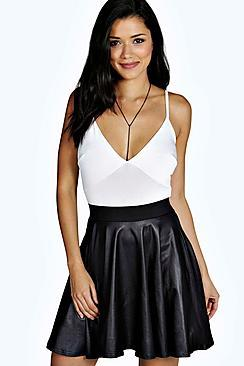 Boohoo Roza Coated Leather Look Skater Skirt