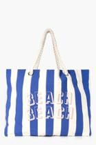 Boohoo Nina Slogan Rope Handle Beach Bag Turquoise