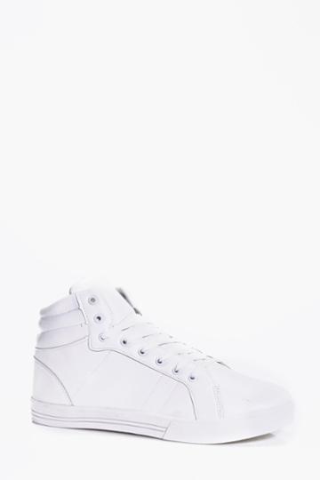 Boohoo Plain Lace Up Hi Tops White
