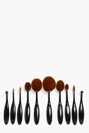 Boohoo 10 Piece Oval Make Up Brush Set Black