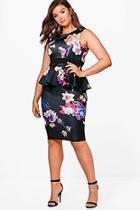Boohoo Plus Georgie Floral Sleeveless Peplum Dress