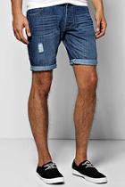Boohoo Light Blue Wash Denim Shorts With Sandblast