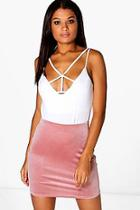 Boohoo Sofie Velvet Mini Skirt