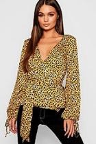 Boohoo Leopard Print Wrap Blouse