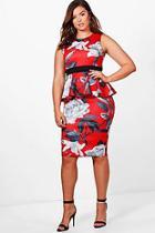 Boohoo Plus Caitlin Floral Sleeveless Peplum Dress