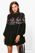 Boohoo Petite Connie Embroidered Smock Dress Black