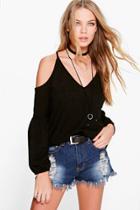 Boohoo Anna Cold Shoulder Bell Sleeve Tunic Black