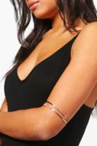 Boohoo Keira Diamante Textured Arm Cuff Gold