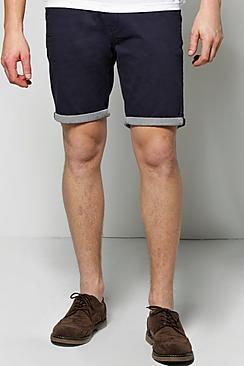 Boohoo Chino Shorts With Stripe Turn Up