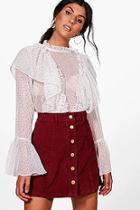 Boohoo Alice A-line Button Through Cord Skirt