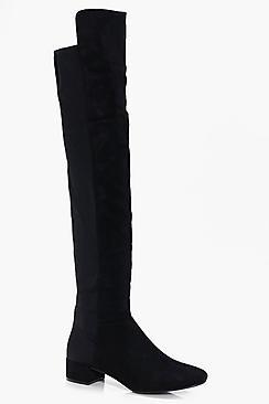Boohoo Jess Block Heel Thigh High Boot