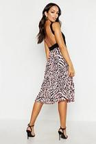 Boohoo Printed Pleated Midi Skirt