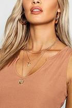 Boohoo Chain Cross & Coin Layered Necklace